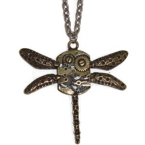 Jewelry - Steampunk Dragonfly Necklace Long NWOT Clasp Chain